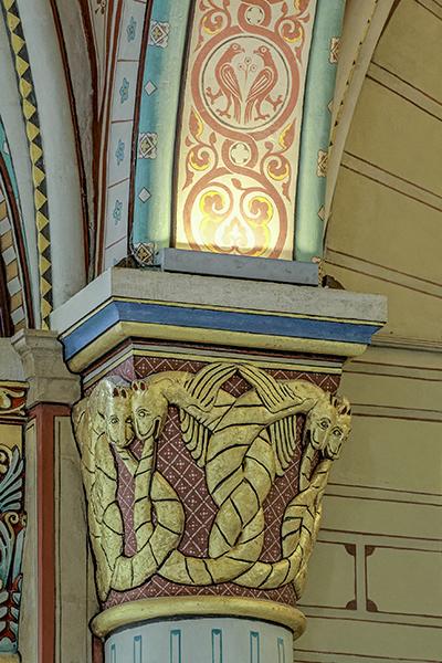 Mur sud, 5ème colonne : quatre serpents, dont deux ailés, entr