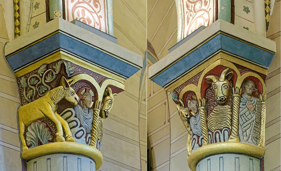 2ème colonne engagée, bas-côté nord, chapiteaux, église Sai