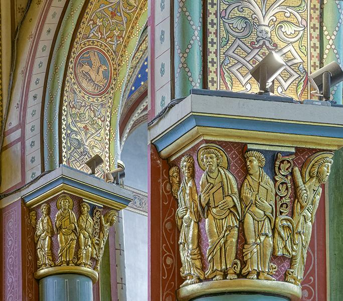 Bas-côté nord, 6ème colonne, chapiteau à cinq personnages do