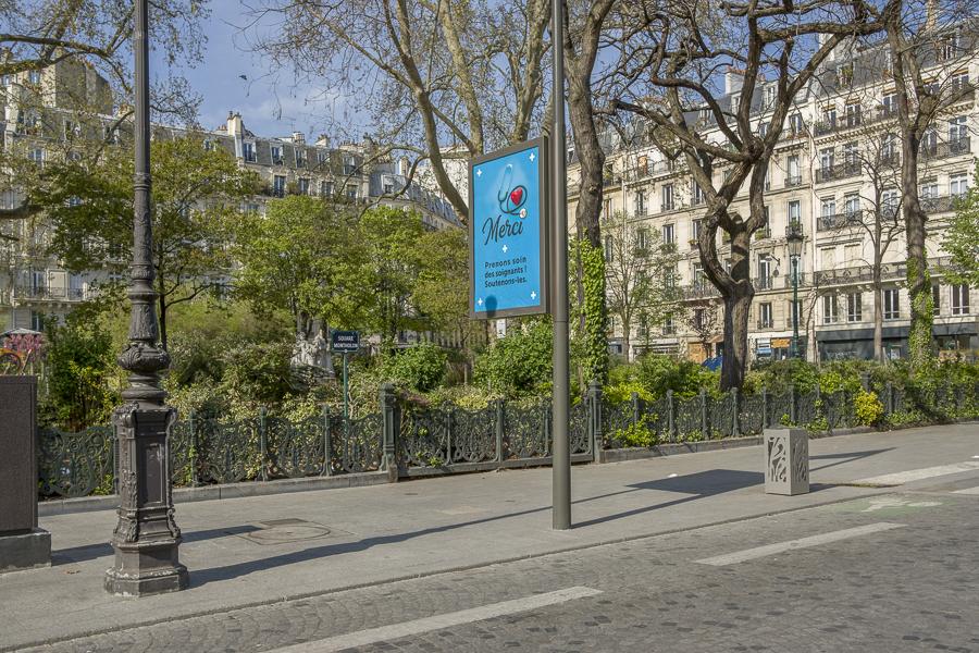 Confinement, rue lafayette, Paris 75009, affiche, coronavirus, c