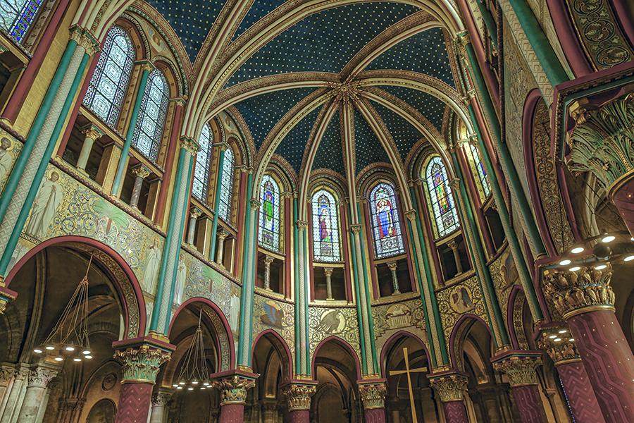 Chœur des Moines, chapiteaux gothiques primitifs, triforium, pe