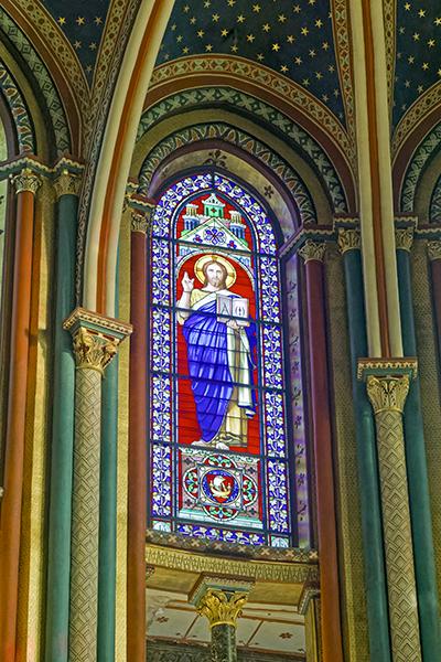 Chœur des moines, vitrail du Christ, Hippolyte Flandrin (peintr